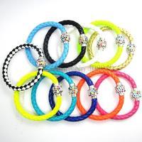 1PCS Wholesale Hot PU Leather Bracelet & Disco Ball Crystal Shamballa Magnetic Clasp Bracelet 03