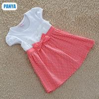 new 2015 summer retail girl dress princess dress bow dot cotton high quality girls dresses NZ35