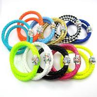 1PCS PU Leather Bracelet Two Laps Disco Ball Crystal Shamballa Magnetic Clasp Bracelet(Long:38CM)06