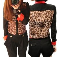 Lady Clothes New Fashion Women Chiffon Blouse Top shirts Long Sleeve Leopard Shirt M,L,XL Shirt 1pcs/lot