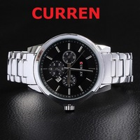 2014 curren men sport watch quartz wristwatch fine steel Case multi-subdial deco date dial stainless steel band military watch