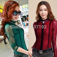 2014 Spring-Autumn New Fashion Ladies Elegance Beading Lace Blouse Turtleneck Slim Wild Basic Blouses Shirt Tops Women