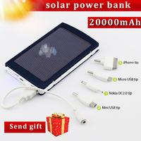 Free Shipping Portable Solar Power Bank Charger 20000mAh universal mobile computer battery backup mp3 J20000