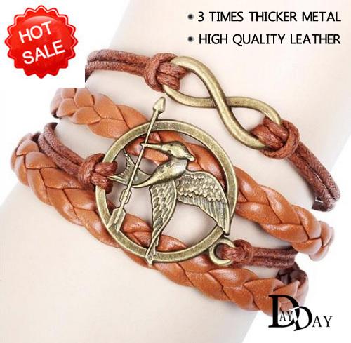 Vintage 2015 New Hunger Games Arrow Birds Infinity Cross Multilayer Leather Bracelet mockingjay Men Women Bracelets