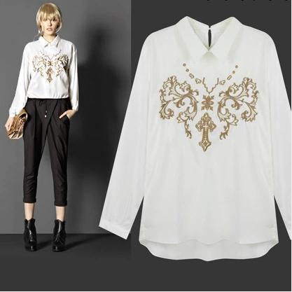 Versae para as mulheres 2014 primavera pode imprimir marca blusa bordado chiffon camisa evocar lookbooks especialmente feminino academia clothings(China (Mainland))