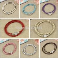 J1-225 One piece Snake Chain Leather Braided Wrist Bracelet necklace Cord Fits for pandora bracelet charm