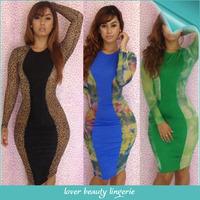 2014 New Arrival Leopard Dress Women  Long Sleeve Bodycon Dress For Bar Autumn Long Sleeve Patch Work Bandage Dress