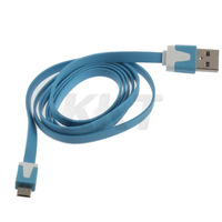 Sync Charging CableFlat Type Micro USB Data  Cable for cell phone PDA MP3 blue New Free Shipping