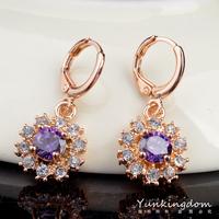 Dropship Free shipping18K Rose Gold Filled Fashion Design Cubic Zircon Leisure sports Lady Women Earrings Dangler Jewelry CZ0142