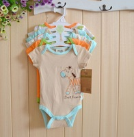 5 pcs / lot Baby Hanging brown horse Baby Short Sleeve unisex Romper,Baby boys  Clothing set,0-3,3-6,6-9,9-12 months