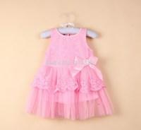 Pink or white girls dress  sleeveless ruffle fluffy  bow lace tulle dress tutu clohtes  clothing,13SEPT3-LQ-1