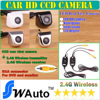 New Car Rearview System/Backup HD CCD Camera, 2.4G Wireless Transmission,170 degree Wide Angle HD black silver chrome white