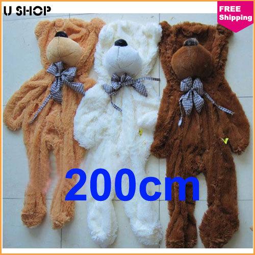 200cm Teddy Bear Skin Plush Shell Wholesale Three Colors Giant Big Teddy Bear Coat birthday/ Valentine/Christmas gifts(China (Mainland))