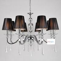 metal chandelier fabric lampshade lighting luminaire