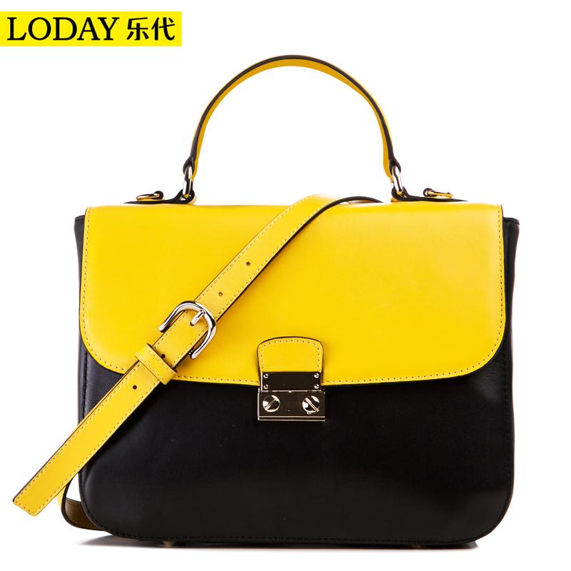 Women Handbag Genuine Leather Preppy Syle Stamp Color Block Shoulder Bag 2014 Women Leather Handbags Women Messenger Bags Totes(China (Mainland))
