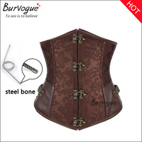 2014 New color brown corset steel boned sexy corset&bustiers underbust women waist training corselet cincher S-2XL