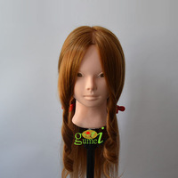 "Free Shipping  Mannequin Manikin Dummy 20"" 80% Human Hair Training Mannequin Heads With Hair Fit for Updo Make UP Curled"