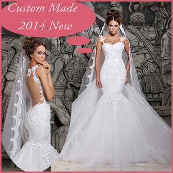 2014 дизайнеры белый кружева и видеть сквозь русалка свадебные платья с съемный поезд свадебные платья тюль VZ-11