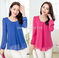 2014 New Fashion Hot Sale Plus Size CasualSleeve Chiffon Blouse Shirts For Women