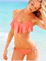 2014 FLOUNCE HALTER TOP DOUBLE STRING BOTTOM  BEACH SEXY bikini set swimwear for women high quality removable padding