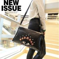 2014 High Quality leather women handbag designer brand women big eyes embroidery day clutch messenger bag fashion tassel bag