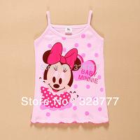 Wholesale 4PCS/LOT  2015 new Hotsale tanks Girls T-shirt baby new Children's vest Infants & Toddlers new T shirt minnie mouse