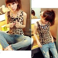 Best Selling 3pcs/lot 2014 New Summer Women's Slim Popular Hot Women Cotton Pathwork Leopard Vest Tank Tops 15250