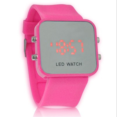 Wholesale and retail Popular women simple fashion style Squre silicone mirror LED dress watch 11 colour choose The perfect gift(China (Mainland))