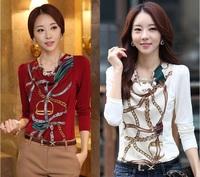 2014 korean spring new fashion Slimming women blouse printing casual chiffon female shirt chifon blusas Camisas Estampada