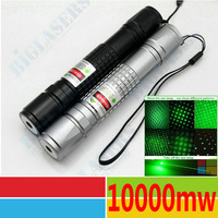 Free Shipping 10000mw 10w Lazer Green Laser pointer pen Burning Matches balloon 532nm 6000m Zoomable