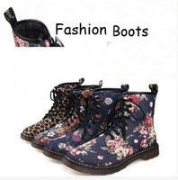 2014 New Winter  AizWsin Floral 8 Hole Fur Martin Boots Woman Rose leopard Short Boots for Women