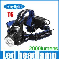 Cree led head lamp zoomable xml-t6 led 2000lumens headlight high power light WLF25