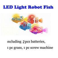 2014 New Electronic Pets Toys LED Robo Fish 4pcs/lot Robot Fish Magical Turbot Electronical Toys (Including battery) Free