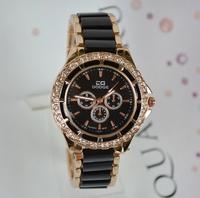 Free Ship New 2014 White Black Fashion Women Dress Watches Gifts Girl Ladies Charm Women rhinestone Watches Rose Gold Wristwatch