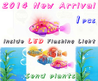 Free Shipping 1 pcs 2014 Selling LED Robo Fish Electronic Pet Robot Fish Magical Turbot Educational Pet Electronical Toy