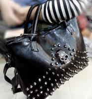 2015 women handbag leather punk rivet skull bags shoulder cross body bags vintage messenger bags for female black free shipping