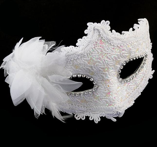 Free Shipping White Halloween Venetian Mask Masquerade Masks Slap-up Party Equipping Flower MK05-W(China (Mainland))