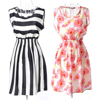 19 Pattern! New Brand 2014 Summer Women Casual Print Dress Chiffon Sleeveless Elastic Waist Party Dresses Free Shipping HX216