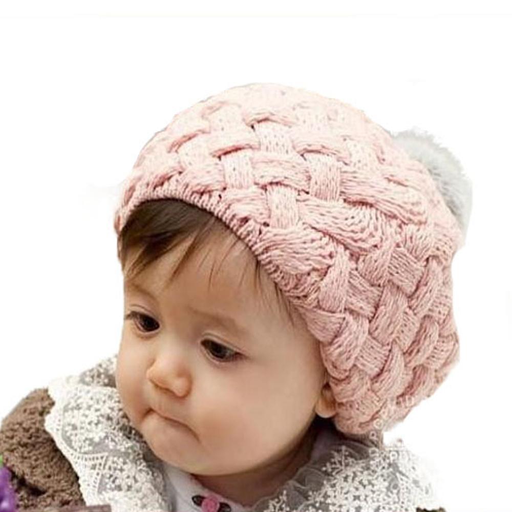 New Winter 1pc Children Plush Hats Beige Red Yellow Pink Baby Boy Girl Berets Woolen Caps(China (Mainland))