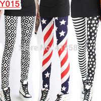 Y015--7 models Fashion women leggings Milk silk blue and white porcelain plover grid  stripe stars flag pants Free shipping