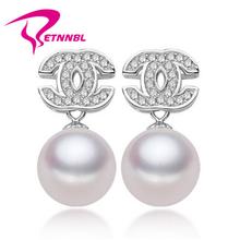popular silver pearl earring