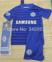 Customize!14/15 Chelsea kids / boy soccer jerseys(shirts kits socks) , Chelsea 2015 HAZARD DROGBA jersey youth, Embroidery logo