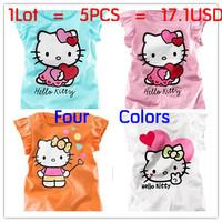 2014 Baby Girls Hello Kitty Tshirt Children Short Sleeve T-shirt Kids Summer Clothes 5Pcs/Lot Free Shipping