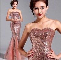 Luxurious pink mermaid Evening Dresses 2014 special occasion fiesta tube dress party fashion . 2025