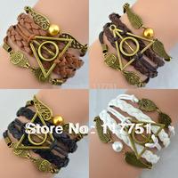 7 colors Multilayer Bangle Antique Bronze harry potter magic hallows bracelet harry potter bracelet owl wing Personaliz bracelet