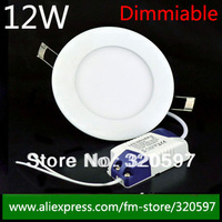 20pcs/lot led down lights dimmable 12w / AC85-260V ceiling light indoor light led panel Freeship by DHL / Fedex