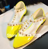 Fashion neon color rivet t shoes pointed toe T hasp women flat heel sandals flat shoes