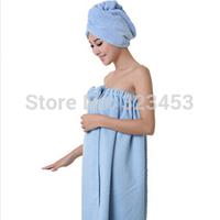 Bamboo Microfiber Magic  towels bathroom SPA Wrap bowknot Bath towel Set  towelling bathrobe  Adult  Women shower cap