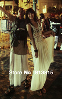D97 Celebrity Style Women Ladies Bohemian Floral Crochet Lace Sleeveless Maxi Long Tank Dress Chiffon Beach Dress Drop Shipping