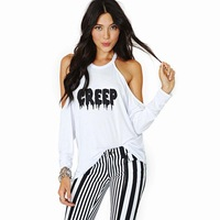2015 spring and summer strapless basic shirt t-shirt creep letter print strapless long-sleeve o-neck t-shirt female haoduoyi